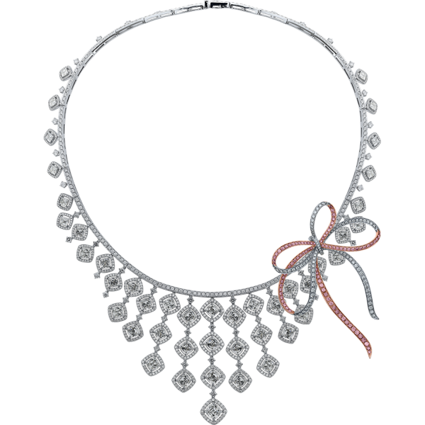 crisscut cushion diamond necklace, lili jewelry unique collection