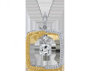 crisscut cushion diamond pendant, lili jewelry unique collection