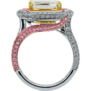 crisscut cushion diamond ring, lili jewelry pink diamonds