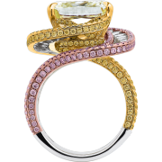 crisscut cushion ring, yellow diamonds