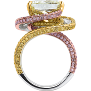 crisscut cushion diamond ring, pink yellow diamonds