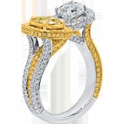 crisscut cushion ring yellow diamonds