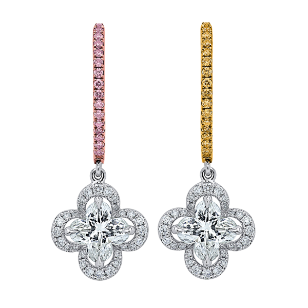 Tricolor- Lily Diamond Earrings, Lili Jewelry